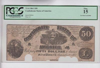 T-14 1861 Confederate States of America $50 Fifty Dollar Bill - PCGS Fine 15
