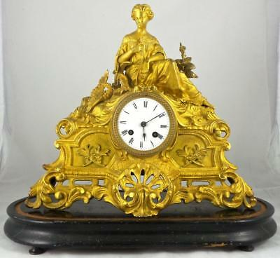 Antique 1850's French Japy Freres Figural Gilt Ormolu Bronze Mantel Clock & Base