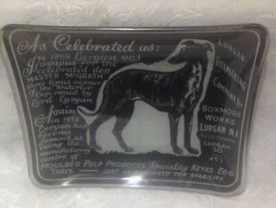 Vintage Glass Tray with Winner Greyhound Dog Master McGrath - Racing / Coursing