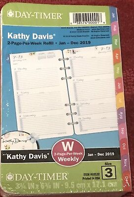 2019 Kathy Davis Planner Refill 2 Page Per Week Day-Timer Size 3 Weekly 53122