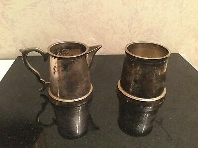 Vintage Stacking Silver Plated Milk Jug And Sugar Bowl