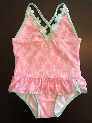 JUICY COUTURE Pink & Mint Green Floral Skirted One Piece Swimsuit 4T
