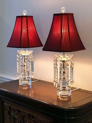 Elegant Pair Antique Cut Crystal Etched Glass Table Lamps w Prisms & Shades