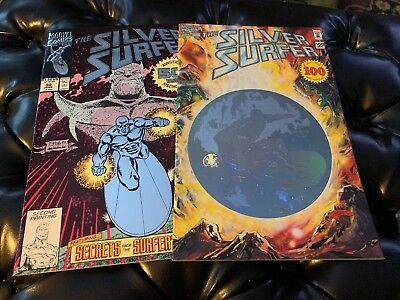 Silver Surfer # 50 & 100 ! #50 Foil 2nd Print Variant ! #100 Hologram Cover ! NM