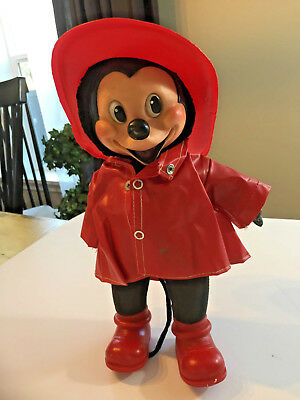 "Vintage 1950's Gund Mickey Mouse Fireman Doll and small 6"" Mickey"