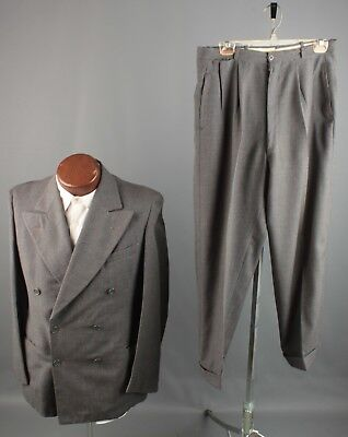 Vtg 1940s Wool Double Breasted Pinstripe Suit Jacket 38 Pants 32x26 40s #6035