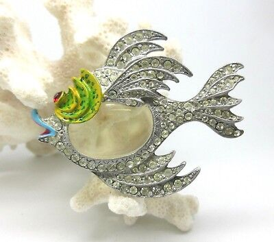 1940's Signed STARET - FISH Brooch/ Pin JELLY BELLY Rhinestone Enamel
