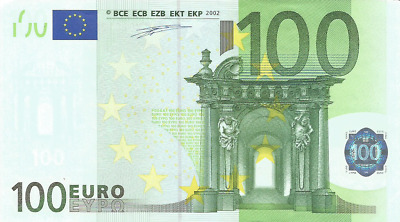 100 Euro Banknote 2002 Prefix X Germany First Edition Duisenberg