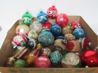 Lot Of 29 Vintage Mercury Glass Christmas Tree Decorations..assorted Sizes
