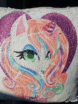 Personalised Unicorn  Sequin Cushion Cover Glitter Magic Reveal  Christmas Gift