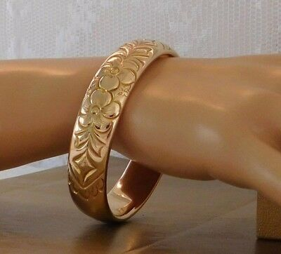 Antique Victorian C 1900 Wide Ornate Gold F Bangle Bracelet Vintage Signed Heavy