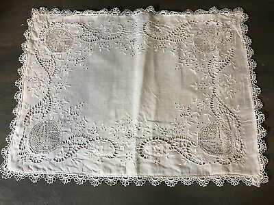 Vintage Italian whitework boudoir pillow case filet lace