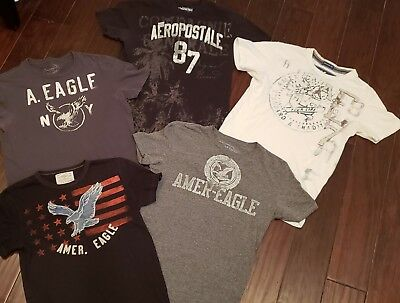 Lot Of 5 Young Mens Size X- Small Aeropostale/american Eagle T- Shirts