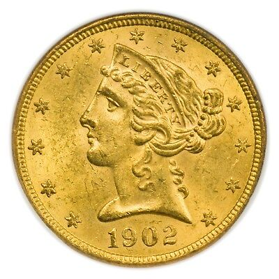 1902-S $5 Gold Liberty Head Half Eagle NGC MS-62, Beautiful Coin [3972.05]