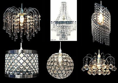 Modern Chandelier Ceiling Pendant Light Shade Acrylic Crystal Drops Glass Shades