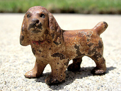 TINY! Vintage Cast Iron HUBLEY Party Favor Buff COCKER SPANIEL Puppy Dog