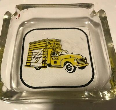 Vintage Bet-R-Way Glass Company LOGANSPORT IN Truck Advertising Ashtray Old