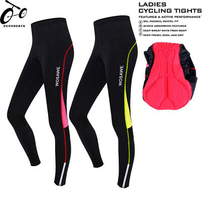 Women's Sports Cycling Pants Bicycle Bike 3D Gel Padded Long  Tights Size S-XXL