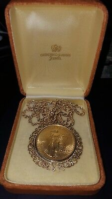 Extremely fine Necklage 1908 $20 GOLD ST.GAUDENS DOUBLE EAGLE US COIN NO MOTTO
