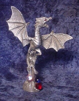 Tall Pewter Mountaintop Dragon with Colorful Crystals - Satin Finish