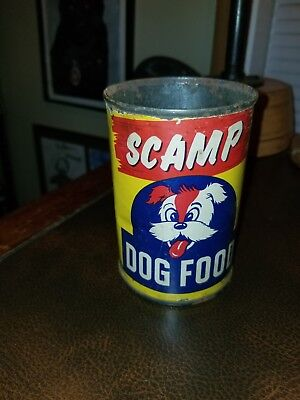 Vintage 1940s Grocery Store Tin Scamp Thrivo Dog Food Philadelphia Pa