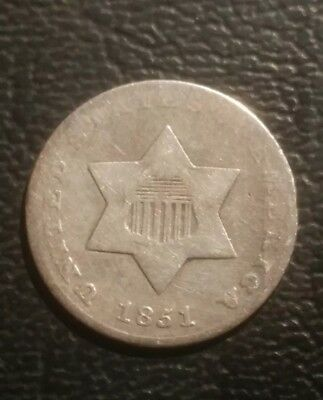 1851, 3 Cent Silver, Good Details, Ex-jewelry.