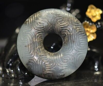Unique Chinese jade hand-made Carving totem safety buckle Pendant   a11