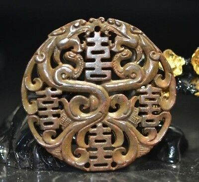 Exquisite Chinese Hand Carved double-sided dragon and Phoenix Amulet Pendant a11