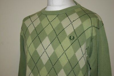 Fred Perry Green Argyle/Diamond Pattern Crew Neck Knitted Vintage Jumper M RARE