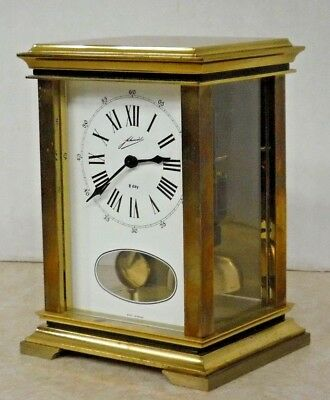 Schmid 8-Day Carriage Chime Clock Open Pendulum Skeleton German Working