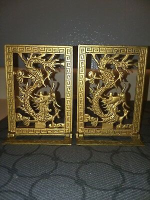 """Vtg. Pair Of Brass Chinese Dragon Folding Book Ends 6"""" Tall, 4 1/4"""" Wide"""