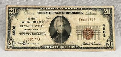 $20 1929 National Currency First National Bank Of Reynoldsville Charter 4908!
