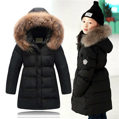 Girls Winter Down Jacket Thick Hooded Kids Outwear Warm Coat Fur Collar Parka
