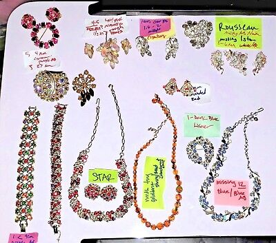 VTG 49 Piece Jewelry Easy Repair Lot Brooches, Earrings, Necklaces, Bracelets