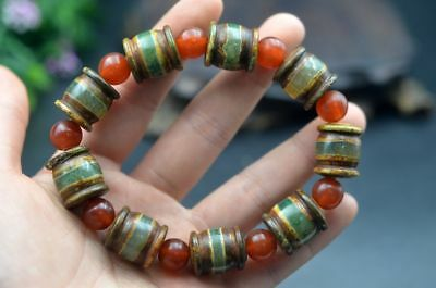 Natural Banded Agate Bead Bracelet Tibet Old Agate Elastic Cord Bangle