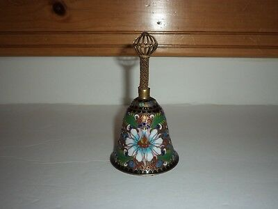 Beautiful Vintage Colorful Cloisonne Enamel Bell With Handle