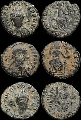 ROMAN IMPERIAL. Lot of 3 Late empire bronzes, Bust facing, list in description