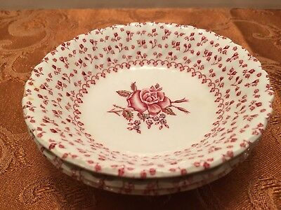 Johnson Brothers England Rose Bouquet Iron Stone 3 Fruit-Dessert Bowl Red White
