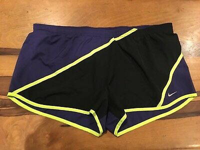 Nike Dri Fit womens tempo running athletic shorts black purple short size XL