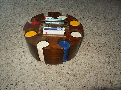 Vintage Poker Chip Caddy with Cover and 175 Chips