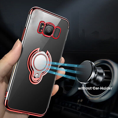 For Samsung Galaxy J3 J4 J7 2018 Magnetic Ring Clear Case Cover + Tempered Glass