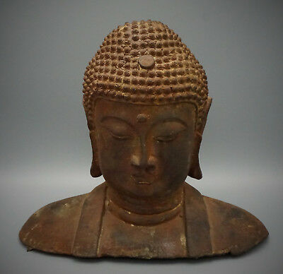 Old Chinese Bronze Head Of The Buddha, Large And Heavy, Late 19Th C
