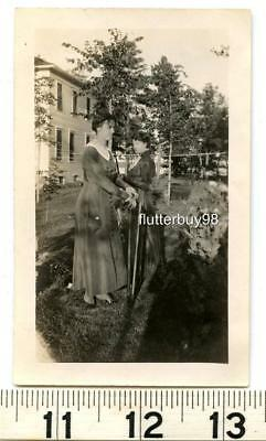 A496-6 Vtg Photo VICTORIAN Women in Garden Roses Tools button up boots