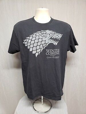 Winter is Coming Stark Game of Thrones Adult Large Black TShirt