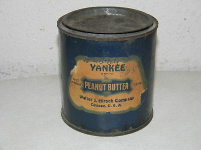 Antique Early Yankee Peanut Butter Tin Can Walter J Hirsch Company Chicago Usa