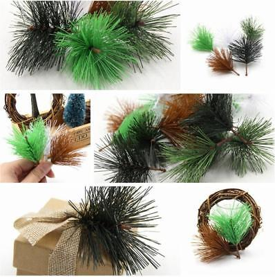 10pcs Artificial Pine Needles Fake Plants Branch For Handmade Christmas Decor