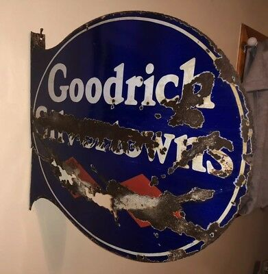 Vtg 1950s Goodrich Silvertowns Porcelain Double Sided Flange Sign Patina
