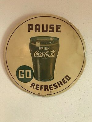 """Rare Coca Cola White 9"""" Celluloid Pause Go Refreshed Sign"""