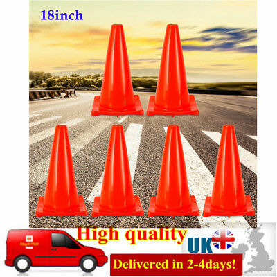 """Pack of 6 Traffic Cones 18""""(457mm) Road Safety Parking lots Cone Fluorescent Red"""