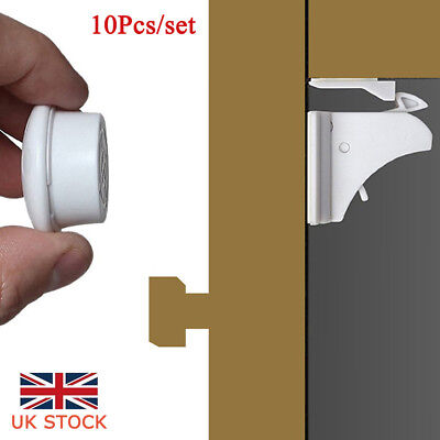 UK Invisible Magnetic Cabinet Drawer Cupboard Lock For Baby Kids Safety X10/50PC